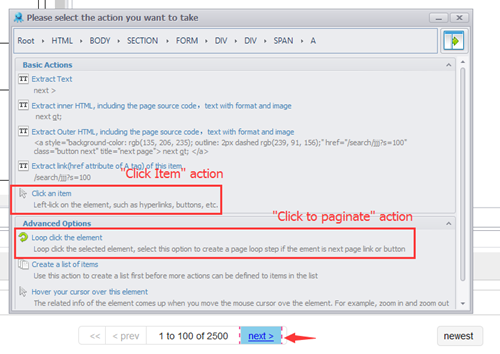 Task Actions - Workflow Designer - Scrape Data by Dropping and