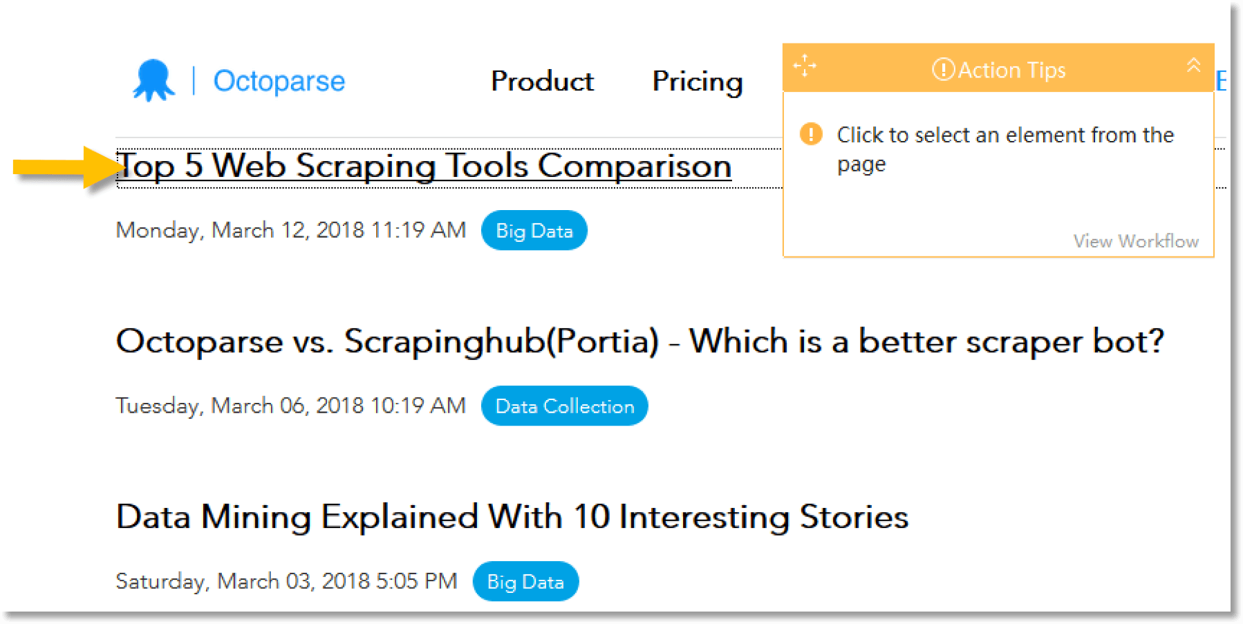 Web Scraping with Octoparse - Using list to extract