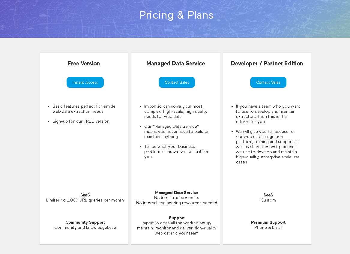 import.io Price&Plan