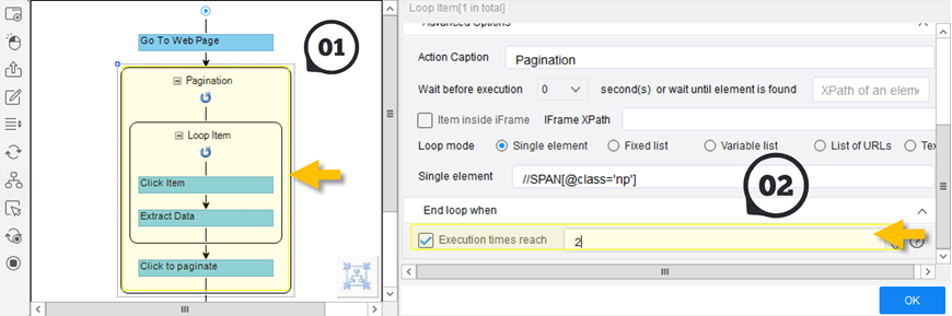 pagination in Octoparse
