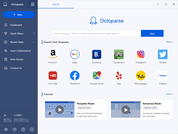 octoparse user interface